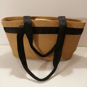 Talbots straw handbag with black grosgrain handles